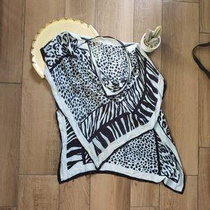 Cute blue cheetah animal print coverup top os